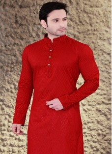 ETHNIC RED COTTON JACQUARD KURTA SET