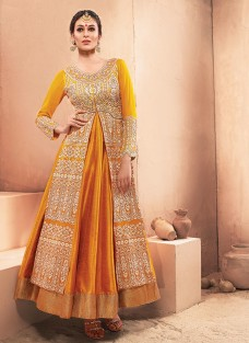 ETHNICA YELLOW EMBROIDERED DESIGNER GOWN