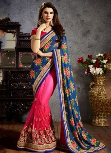 SHERLYN CHOPRA BLUE & PINK EMBROIDERED SAREE