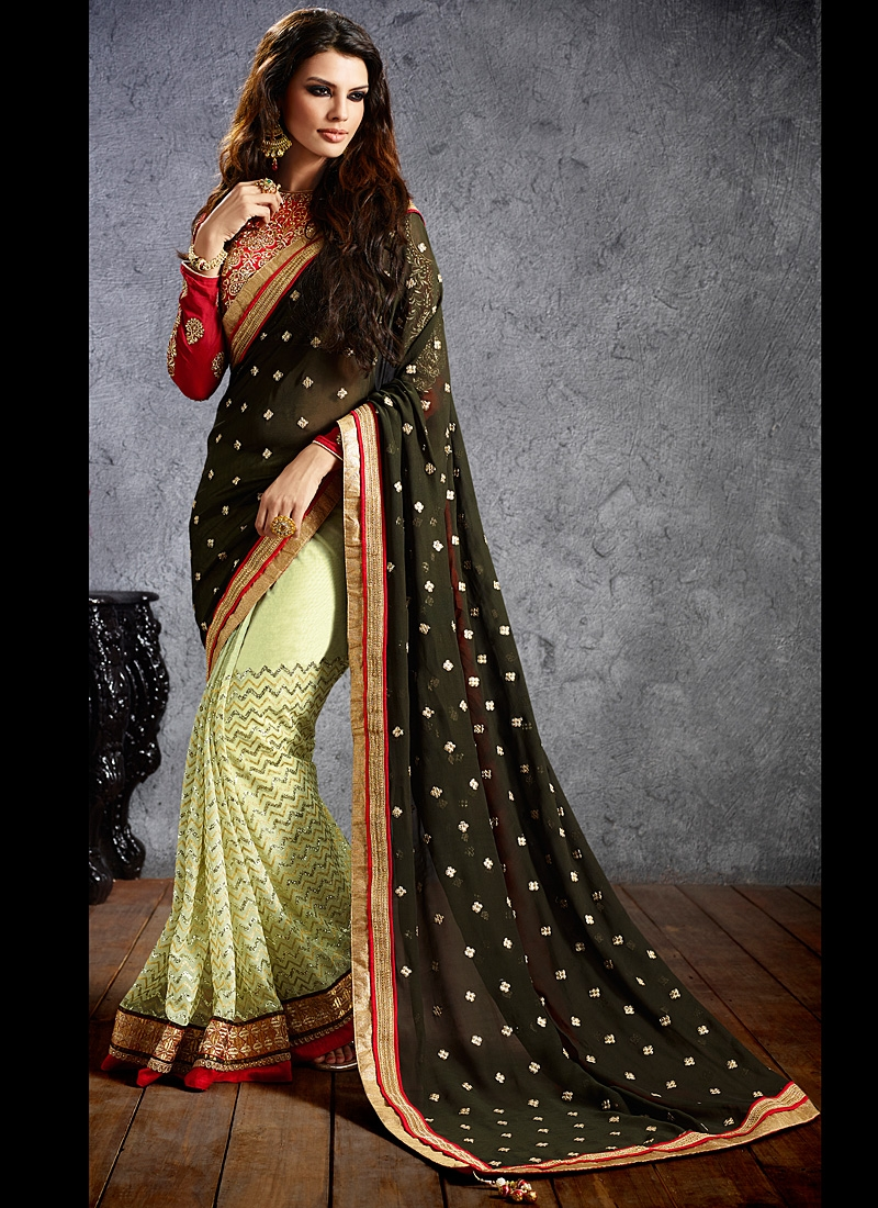 SHERLYN CHOPRA BLACK AND GREEN EMBROIDERED SAREE