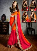 SHERLYN CHOPRA ORANGE OMBRE EMBROIDERED SAREE