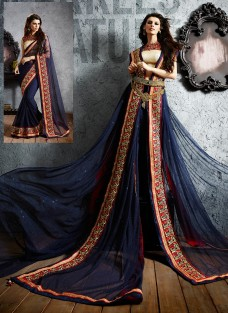 SHERLYN CHOPRA NAVY BLUE NET EMBROIDERED SAREE