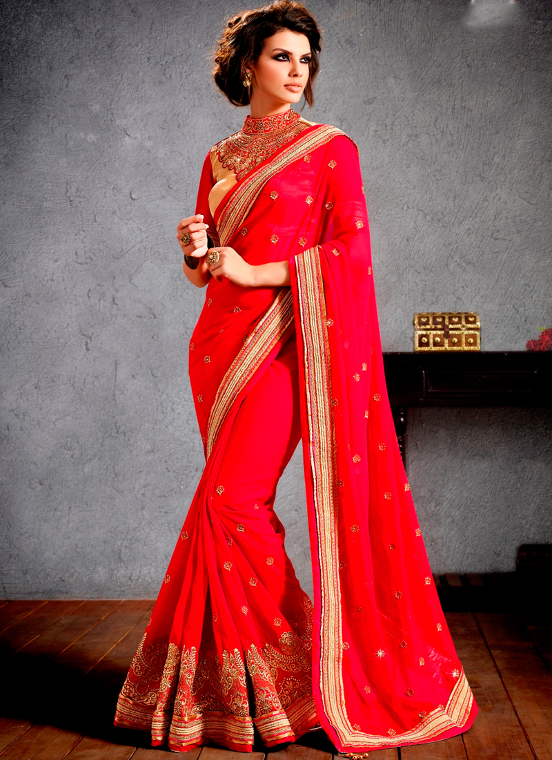 SHERLYN CHOPRA RED GEORGETTE EMBROIDERED SAREE