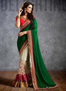 SHERLYN CHOPRA DARK GREEN FESTIVE SAREE