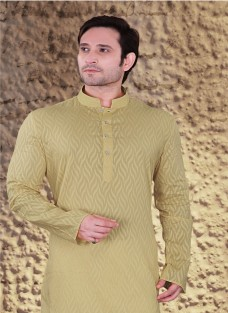 ETHNIC BEIGE COTTON JACQUARD KURTA SET