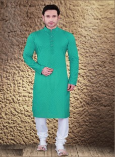 ETHNIC GREEN COTTON JACQUARD KURTA SET