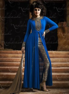 IMPERIAL BLUE GEORGETTE INDO WESTERN SUIT