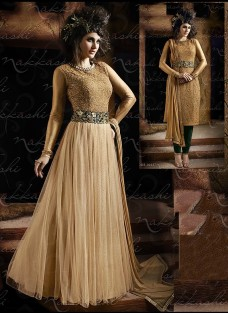 IMPERIAL BEIGE AND BOTTLE GREEN GOWN STYLE