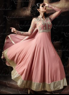 IMPERIAL PEACH EMBROIDERED ANARKALI SUIT