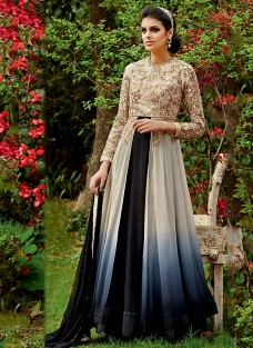 LAVISH BLACK CREAM HUED EMBROIDERED ENSEMBLE