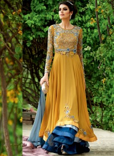 LAVISH MUSTARD AND BLUE EMBROIDERED ENSEMBLE