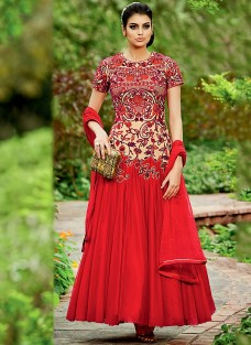 LAVISH RED HUED EMBROIDERED ENSEMBLE
