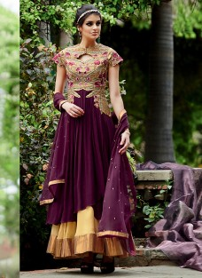 LAVISH WINE AND BEIGE EMBROIDERED ENSEMBLE