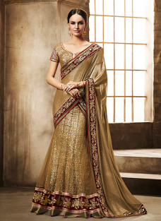 GLITTERING GOLD AND MAROON LEHNGA SAREE