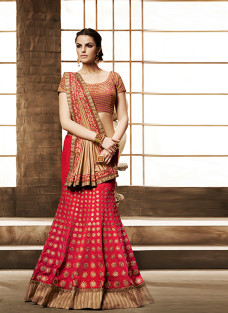 GLITTERING RED AND BEIGE LEHNGA SAREE