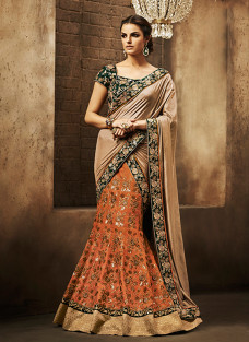 GLITTERING BEIGE AND ORANGE LEHNGA SAREE