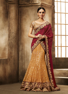 GLITTERING MAROON AND YELLOW LEHNGA SAREE