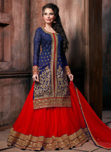 GRANDIOSE BLUE AND RED LEHNGA SET