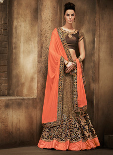 GLITTERING PEACH AND BROWN LEHNGA SAREE