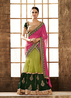 GLITTERING PINK AND GREEN LEHNGA SAREE