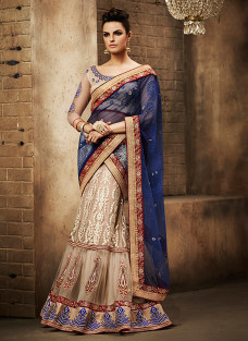GLITTERING BEIGE AND BLUE LEHNGA SAREE