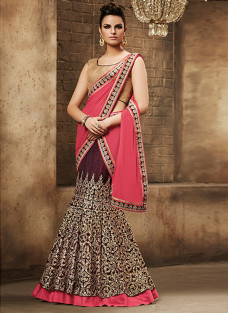 GLITTERING WINE AND PINK LEHNGA SAREE