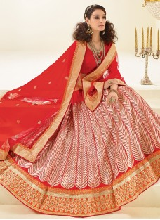 LUXURIOUS RED ZARI WORK FESTIVE LEHNGA