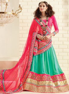 LUXURIOUS GREEN AND PINK FESTIVE LEHNGA