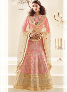 LUXURIOUS PINK EMBROIDERED FESTIVE LEHNGA