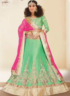 LUXURIOUS SEA GREEN EMBROIDERED FESTIVE LEHNGA