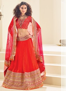 LUXURIOUS RED EMBROIDERED FESTIVE LEHNGA