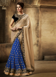 GLITTERING ROYAL BLUE AND BEIGE LEHNGA SAREE