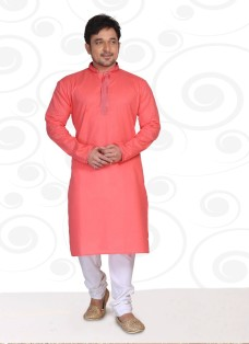 DESIGNER PEACH COTTON READY MADE KURTA SET
