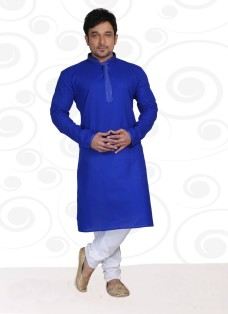DESIGNER BLUE COTTON READY MADE KURTA SET