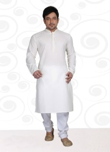 DESIGNER WHITE COTTON READY MADE KURTA SET
