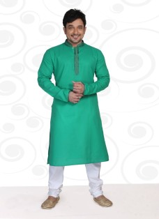 DESIGNER GREEN COTTON READY MADE KURTA SET