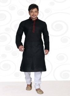 DESIGNER BLACK COTTON READY MADE KURTA SET