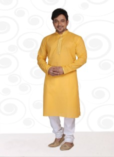 DESIGNER YELLOW COTTON READY MADE KURTA SET