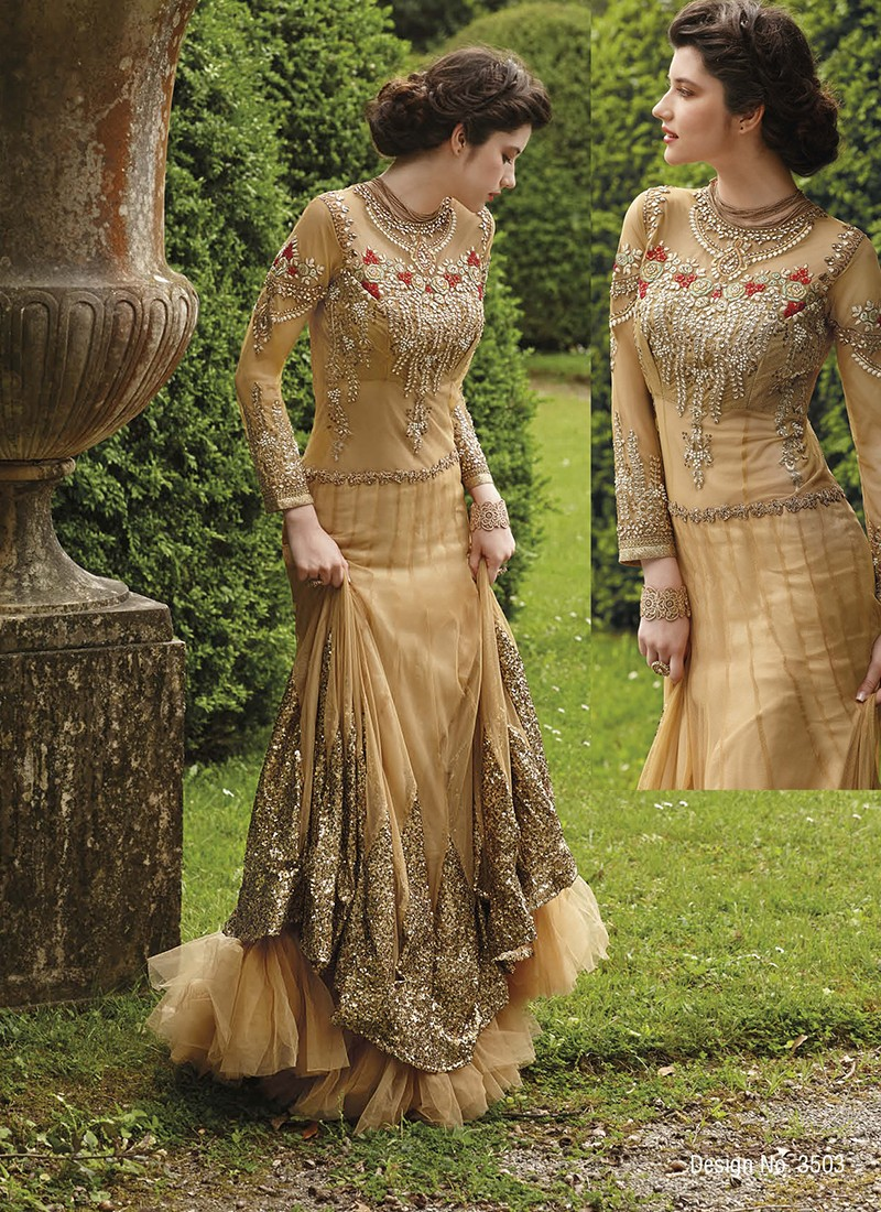 Haute couture beige embroidered gown