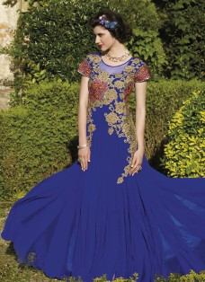 HAUTE COUTURE BLUE EMBROIDERED GOWN