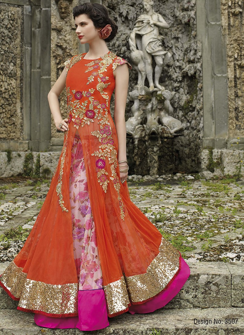 Haute couture orange and pink floral gown for Haute couture red