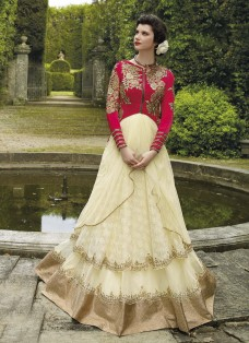 HAUTE COUTURE RED AND CREAM EMBROIDERED GOWN