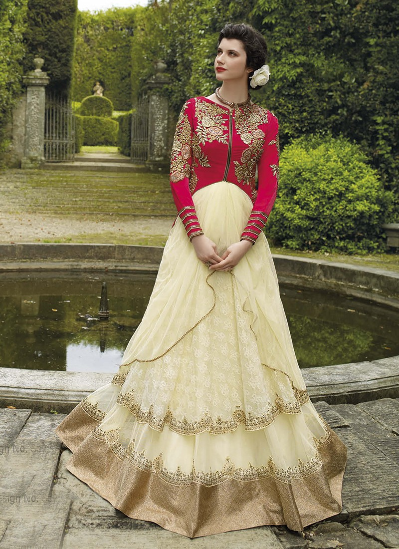 Haute couture red and cream jacquard gown for Haute couture sale