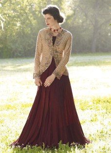 HAUTE COUTURE BEIGE AND BROWN GOWN
