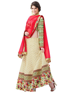 GRACEFUL CREAM AND RED LEHNGA SET