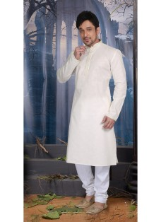 OFF WHITE POLY COTTON READY MADE KURTA SET