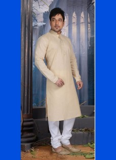 LIGHT BEIGE POLY COTTON READY MADE KURTA SET