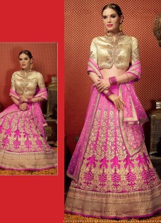 ROYAL FUSION GOLDEN AND PINK OMBRE LEHNGA