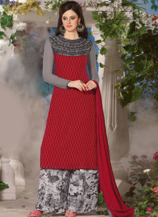 SUBTLE RED AND GREY FLORAL PALAZZO SUIT