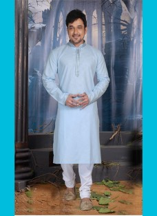 SKY BLUE POLY COTTON READY MADE KURTA SET